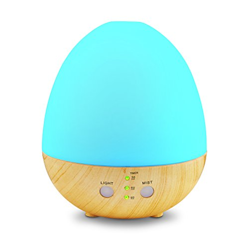 caferria Egg Essential Oil Diffuser, 235ml Ultrasonic Aromatherapy Diffuser Humidifier with 8 Colors LED Lights,4 Timer Settings and Waterless Auto Shut-off Cool Mist Humidifier for Home Office Baby