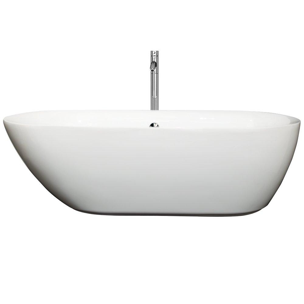 Wyndham Collection Melissa  Inch Freestanding Bathtub For - Freestanding tub end drain