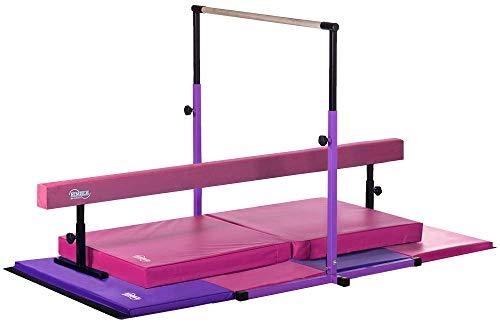 Nimble Sports Pink and Purple Deluxe Gymnastics Set - Adjustable Bar and Balance Beam - Folding Mat - Landing Mat (Gymnastic Set)