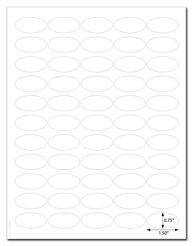 Waterproof White Matte 1.5 x 0.75 inch Oval Labels for Laser Printers with Template and Printing Instructions, 5 Sheets, 275 Labels (JV15)]()