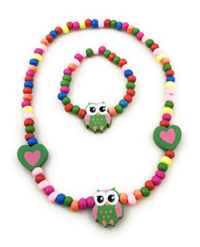 (Spinnaker Collection Kids Wooden Owl Necklace and Bracelet Set - Elastic 15 inches- Girls Love Bead Accessories - Play Jewelry (Green) )