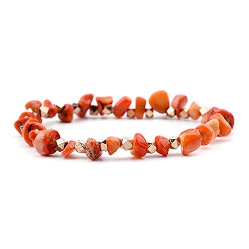 SUPERON Elastic Irregular Natural Gem Strand Bracelets Women Handmade Quartz Howlite Coral Chic Stretch Chip Bracelet(Adjustable,Orange Coral)