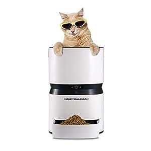 HoneyGuaridan S25 Comedero de Mascotas Automático Inteligente, Temporizador Programable Dispensador de Porciones controlado con una simple APP en iOS y Android – Diseñado para Perros y Gatos