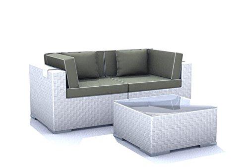 Gartenmöbel Rattan Espace Start E1 - 2 Sitze Polyrattan, cremeweiß inkl. Kissen