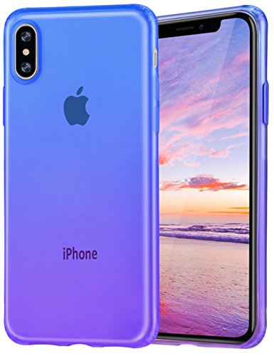 iPhone X Case Salawat Cute iPhone Xs Case Gadient Color Design Slim Lightweight Protective Cover for iPhone X iPhone Xs 5.8 inch(Blue Purple)