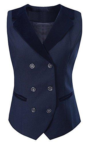 Vocni Women Breasted Lapels Slim Fit Uniform Suit Waistcoat Dressy Vest Blue US XS(Asia M)+ (Fit Bust 32.3''-34.6'') by Vocni