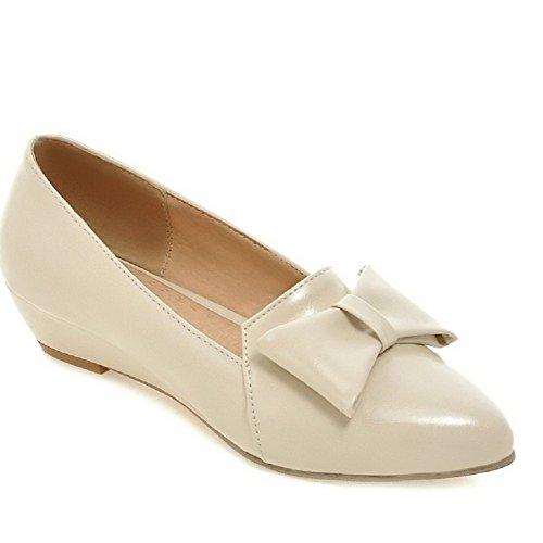Zapatos De Tacón Bajo Sólidos Para Mujer Allhqfashion Pull On Bombas De Punta Estrecha Cerrada Beige