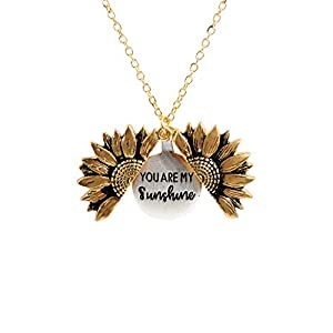 Sloong You Are My Sunshine Engraved Necklace Sunflower Locket Necklace Jewelry for Women girlfriend