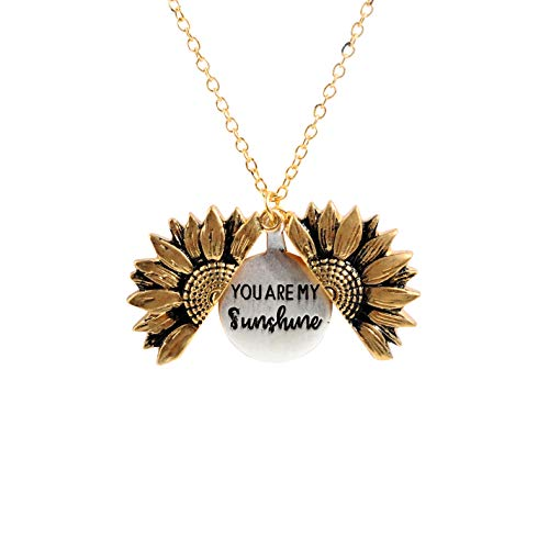 sloong You are My Sunshine Engraved Necklace Sunflower Locket Necklace (A Sunflower)