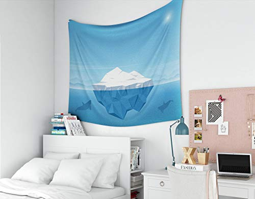 Hanging Wall Tapestry,GROOTEY Wall Art Décor Tapestry 60X50 Inches Iceberg Floating In Blue Ocean Iceberg Above Beautiful Transparent Underwater View In The Ocean Map Tapestries For Home Bedroom Dorm