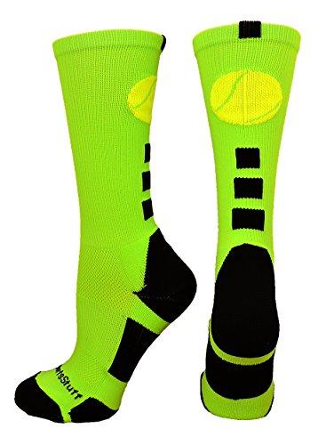 Ball Tennis Prince (MadSportsStuff Tennis Logo Athletic Crew Socks (Neon Green/Black, Medium))