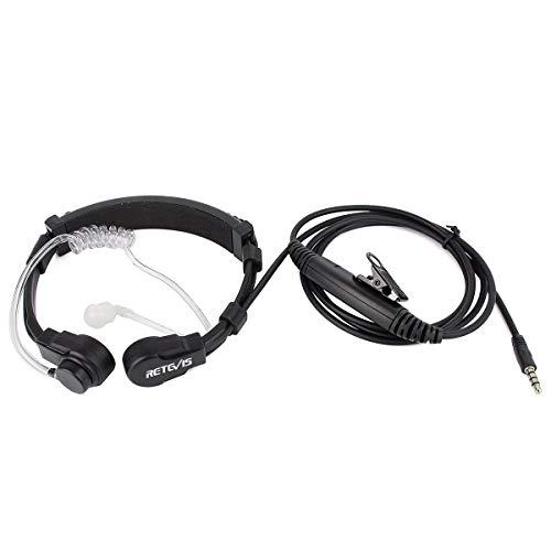 Retevis 1 Pin 3.5mm Flexible Throat Mic PTT Earpiece Covert Air Tube Headset for Cellphone Walkie Talkies (1 Pack)