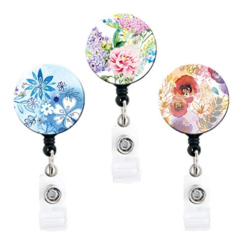Floral Designs, Set of 3 - Retractable Badge Reels with Swivel Clip and Extra-Long 34 inch Cord - Badge Holder