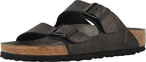 - Birkenstock Women's, Arizona Birk-Flor Sandals - Narrow Width Metallic Antique Black 36 M