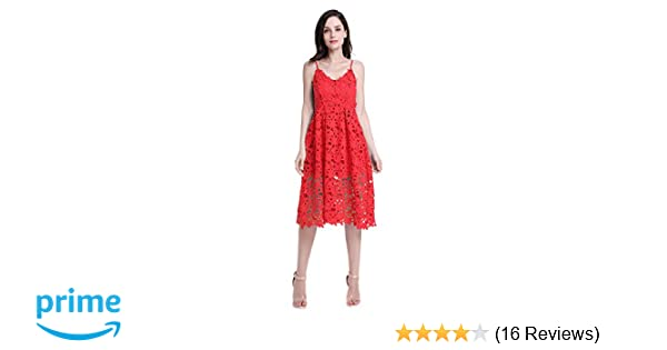 a5dfda773 ZURIFFE Women's Summer Wedding Party Cami Strap Midi Lace Dress Red XL at  Amazon Women's Clothing store: