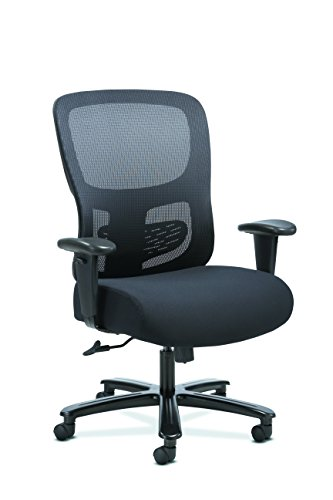 Sadie Big and Tall Office Computer Chair, Height Adjustable Arms with Adjustable Lumbar, Black (Big Tall Office Chairs)