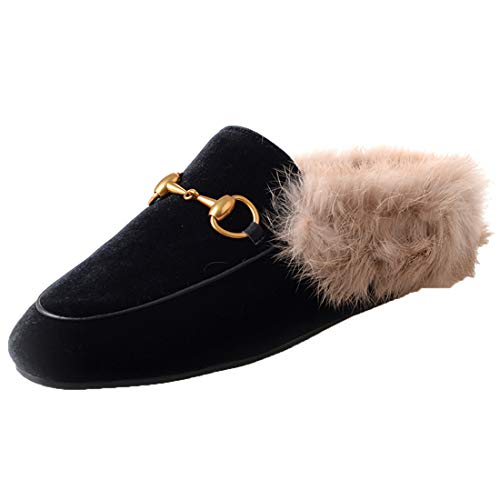 Agodor Womens Flats Suede Leather Slingback Mules Faux Fur Slip on Outdoor Dress Slippers Warm Classic Shoes (US 9.5, - Black Slingbacks Velvet