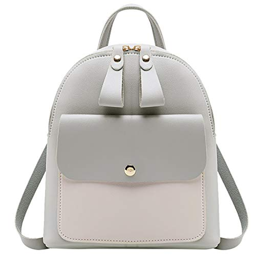 Backpack, Women Teen Girls Fashion Color Block Mini Travel Backpack Messenger Bags Shoulder Bags Satchel Daypack (Gray)
