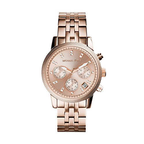 Michael Kors MK6077 Ladies Ritz Rose Gold Plated Chronograph (Chronograph Rose Gold Plated)