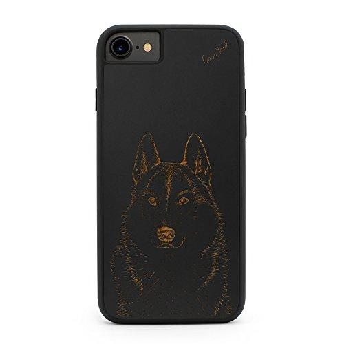 iPhone 8 Plus /7 Plus Case CaseYard Hybrid Wood Case for Apple iPhone 8 Plus & iPhone 7 Plus Made in California(Reg-Protective Black) Siberian Husky