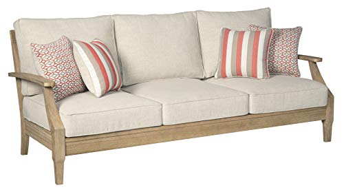 Signature Design by Ashley - Clare View Sofa with Cushion - Eucalyptus Wood Frame - Beige (Contemporary French Furniture Outdoor)