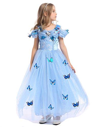 Kokowaii Fancy Girls Princess Dress with Butterfly 5 Layers]()