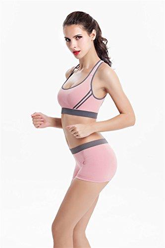 YeeHoo Donne Reggiseno senza maniche e pantaloni corti pantaloni corti di Yoga regolano l'usura sportiva di palestra Rosa