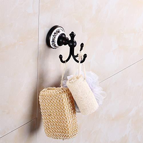 KKLTE Coat Hook-Bronze Antique Hook Hanging Wall 3 Hook, Wall-Mounted Blue and White Porcelain Bathroom Hook, for Bathroom, Wash Room by KKLTE (Image #4)