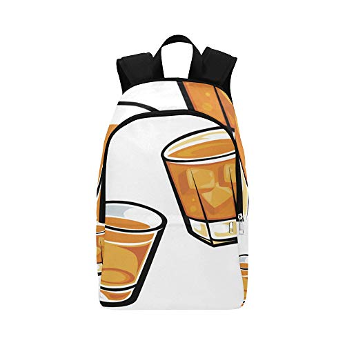 Backpack Shoulder Bag Glass and Cool Drink for Men Women Teachers Bookbag Travel Bag Comfort Office Outdoor for Traveler (Booze Traveler Best Bars)