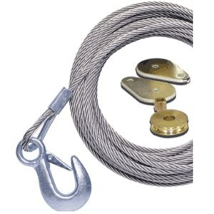 """Powerwinch 50' x 7/32"""" Stainless Steel Universal Premium Replacement Galvanized Cable w/Hook & Swivel Pulley Block"""