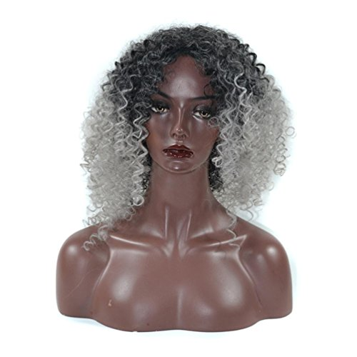 Long Kinky Curly Hair Wigs for Black Women Fluffy Wavy Synthetic Wig Natural Looking Heat Resistant Wigs Half Hand Tied Willsa (White Fiber Optic Costumes Wig)