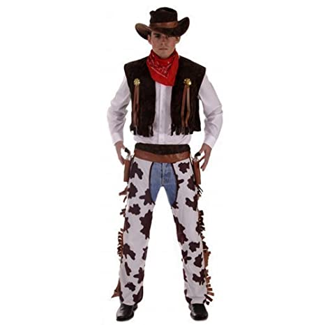 4 Piece Mens Wild West Cowboy Sheriff Fancy Dress Party Costume Outfit STD /& XL