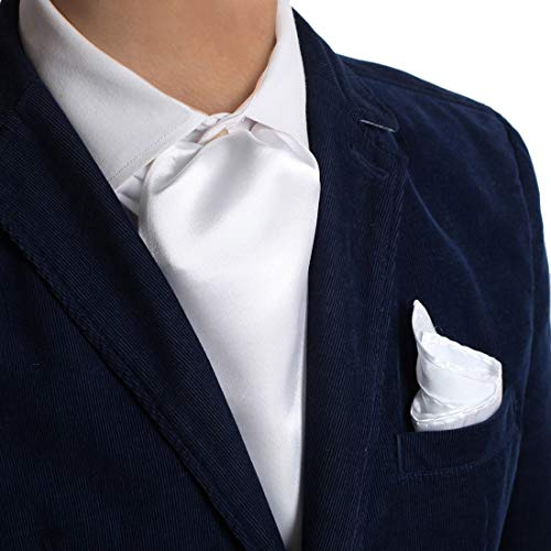 - Dan Smith DRC1E01I White Solid Microfiber Dress Goods Ascot and Matching Handkerchief