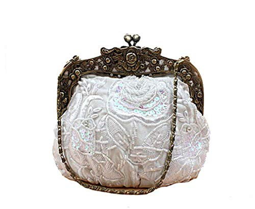 Rose Luxury Women Bag Handmade Clutch Beaded Wedding Chain Ladies Party Handbag White Flap Shoulder Evening RTqxd8TA