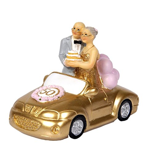 Small/ Standing Wedding Car Elderly Couple Figurines Collectibles for Parents 50th Anniversary Gift Polyresin Statues