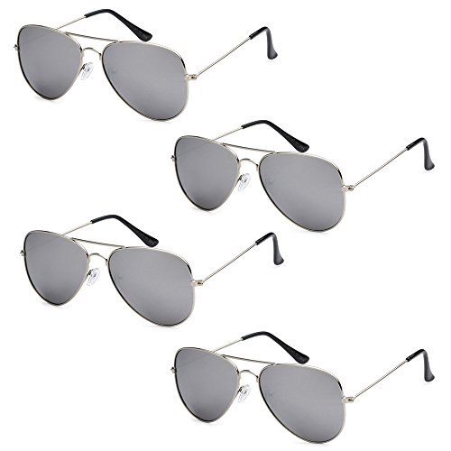 Wholesale Bulk Lot Promotional Unisex Classic Pilot Aviator Sunglasses - 4 - 4 Sunglasses Pack
