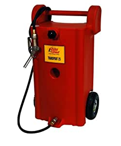 JohnDow Fuel Chief JDI-25GC-P 25-Gallon Poly Gas Caddy With 10-Inch Pneumatic Wheels & 10-Foot Hose
