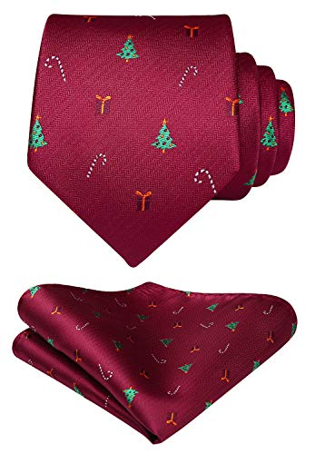 HISDERN Men's Christmas Tie Tree Pattern Woven Party Necktie & Pocket Square Set ()