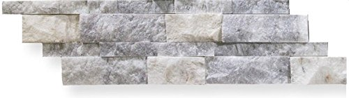 Bianco Venato Marble 6 X 20 Stacked Ledger Wall Panel Tile, Split-faced (SMALL SAMPLE PIECE) Stone Tile Fireplace