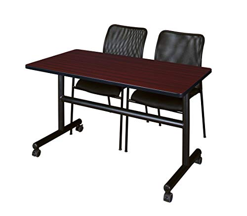 Regency MKFT4830MH75BK and 2 Mario Stack Chairs Flip Top Mobile Training Table, 48, Mahogany/Black
