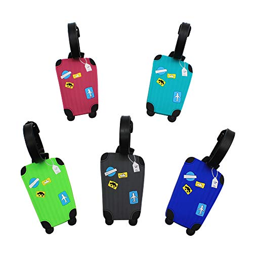 - Mziart Cute Luggage Tags Unique Funny Bag Tags Cartoon Baggage Suitcase Labels Travel Identifiers Name Tags (Set of 5)