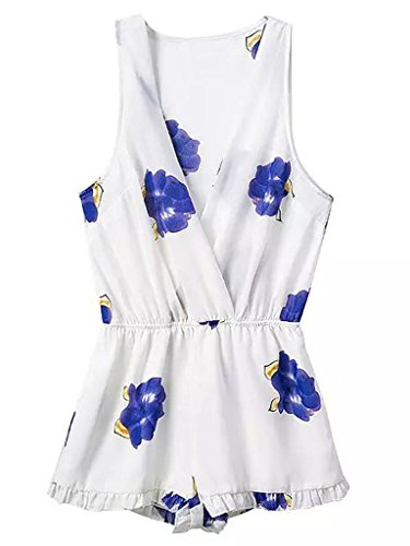 Persun Womens Floral Pleated Playsuit