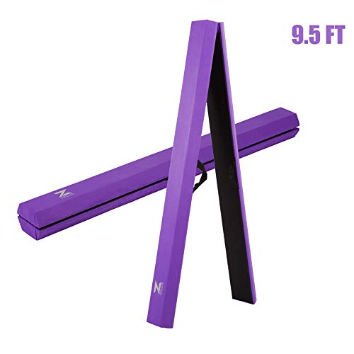ZELUS 8 ft /9.5 ft Folding Gymnastics Balance Beam, Floor Balance Beam with Carry Handles Anti-Slip Base for Kids, Beginners and Professional Gymnasts (9.5ft, Violet)