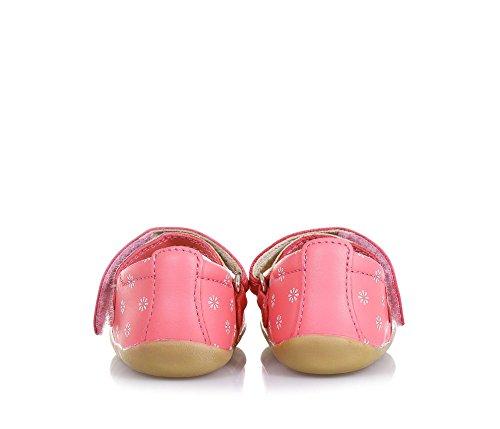 BOBUX - Ballerine Step Up Swing Ballet rose en cuir, made in New Zealand, avec des décorations florales, bébé Fille