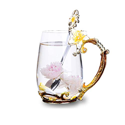 Tea Cup Coffee Mug Cups, Handmade Lily Flower Glass Coffee Cup 13 oz Ideal for Friend Wedding Anniversary Christmas Birthday Presents(Orange)