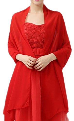 Alivila.Y Fashion Organza Soft Long Wrap Scarf Shawl-Red Chiffon-1669