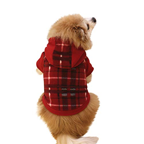 HP95 Pet Fleece Hoodies Winter Cold Weather Clothes for Small Dogs & Cats Warm Classic Plaid Coat Jacket Puppy Apparel]()