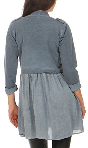 Camicetta Donna Blazer 8036 Base abito Elegante Blu Malito look 6IaqfwHH
