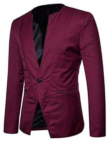 Casual Manica Fit Lunga Winered Giacche Elegante Da Uomo 1 Bottone Skinny Slim Huixin Colletto Blazer GMpLqUjSzV