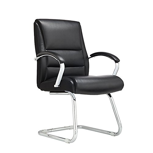(Realspace Modern Comfort Series Morgan Bonded Leather Guest Chair, Black/Silver)
